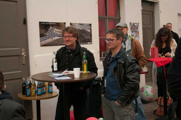 "Vernissage ""Plastic All Over The World"" Poster Project at Conference Music Match Detlef Schweiger and Harald Schluttig, Germany Photo by Mykola Dzhychka"